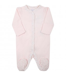 Pink babygrow for baby girl with roses