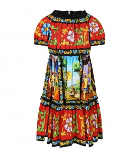 Multocolor dress for girl with logo