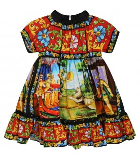 Multocolor dress for baby girl with logo