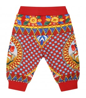 Red sweatpants for baby kids with logo