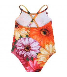 Multicolor swimsuit for baby girl with logo