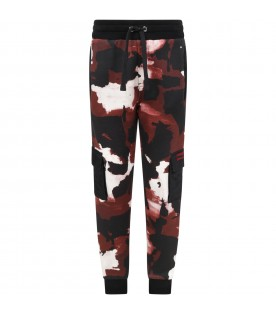 Multicolor sweatpants for boy with logo