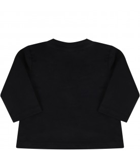 Black t-shirt for baby girl with logo