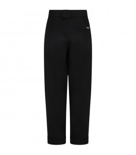 Black trousers for girl with logo