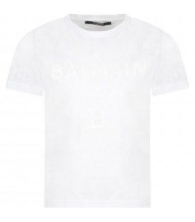 White t-shirt for kids with blue logo