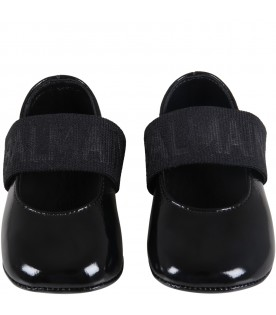 Black ballet flats for baby girl with logo