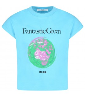 Light blue t-shirt for kids with planet