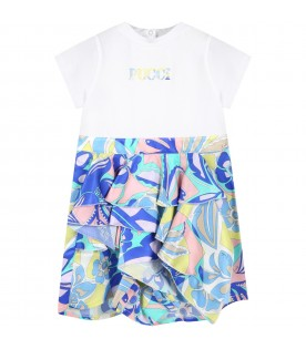 Multicolor romper for baby girl with logo