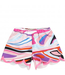 Multicolor shorts for baby girl with logo