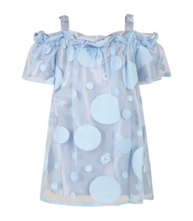 Light blue dress for girl with embroidery