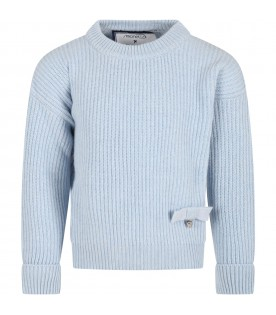 Light blue sweter for girl with bow