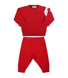 Red tracksuit for baby kids with patch