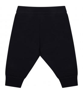 Blue sweatpants for baby kids with iconic patch