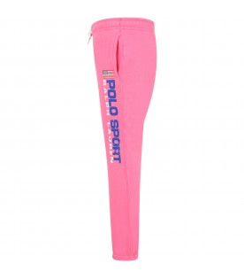 Pink sweatpant for girl with flag