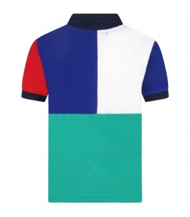 Multicolor polo shirt for boy with pony logo