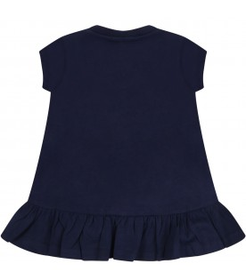 Blue dress for baby girl with logo