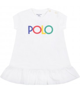White dress for baby girl with logo
