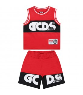 Red suit for baby kids with logo