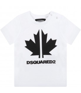 White t-shirt for baby boy with maple leaf