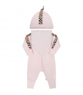 Pink set for baby girl with check vintage