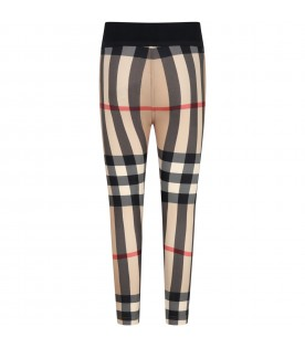 Beige leggings for girl with check vintage