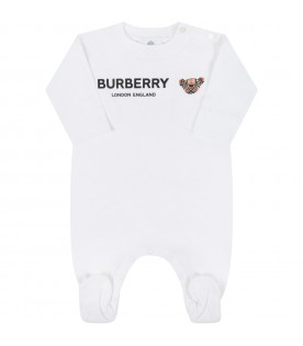 White jumpsuit for babykids with Thomas Bear