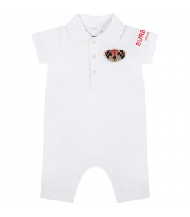 White romper for baby girl with Thomas Bear