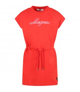 Red dress for girl with logo