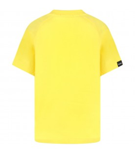 Yellow t-shirt for kids with white logo