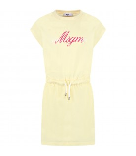 Yellow dress for girl with logo