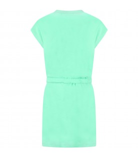 Green dress for girl with logo