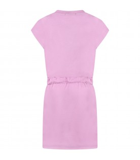 Lilac dress for girl with logo