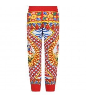Red sweatpant for kids with iconic prints