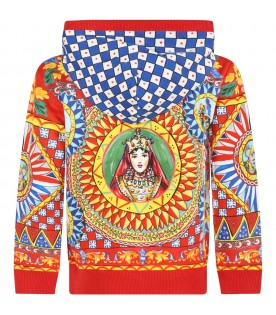 Red sweatshirt for kids with prints