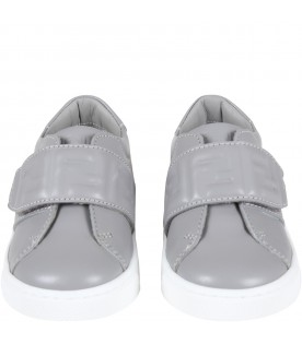 Gray sneakers for babykids with logo