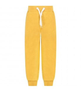 Yellow sweatpants for kids with logo