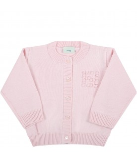 Pink cardigan for baby girl with embroidered logo