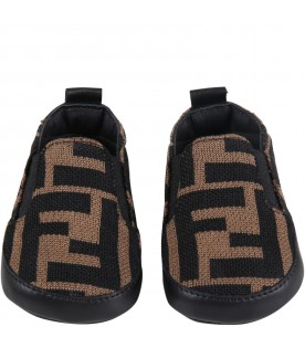 Brown sneakers for babykids with double FF