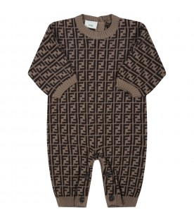 Beige jumpsuit for babykids with double FF