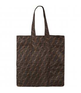 Brown shopper-bag for kids with FF logo