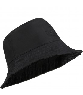 Black bucket hat for kids with logo