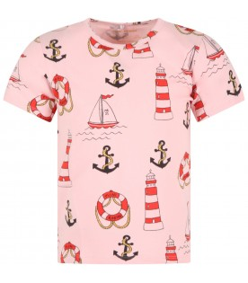 Pink T-shirt for girl with anchors