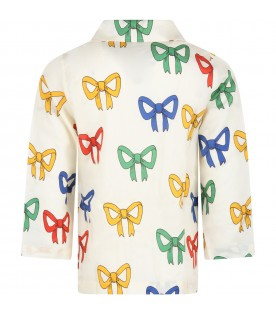 Ivory shirt for kids with bows