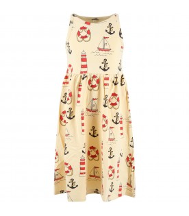 Ivory dress for girl with anchors