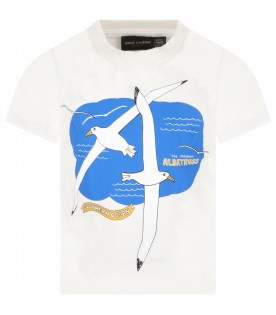 Ivory t-shirt for kids with seagulls