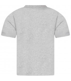 Gray T-shirt for kids with red orca