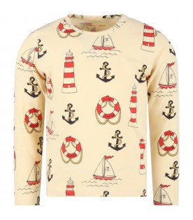 Ivory t-shirt for kids with anchors