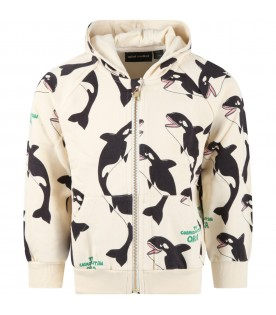 Ivory sweatshirt for kids with orcas