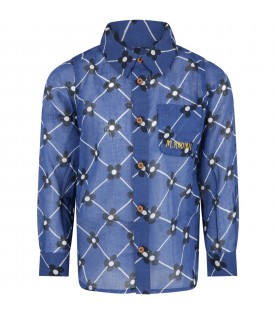 Blue shirt for kids with flowers