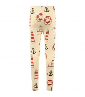 Ivory leggings for kids with anchors